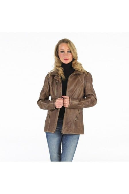 Ladies Hip Length Nappa Leather Jacket in Mink